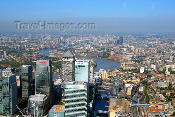england536: Tower Hamlets, London, England: aerial view of Canary Wharf, Docklands - West India Quay, Isle of Dogs - photo by A.Bartel - (c) Travel-Images.com - Stock Photography agency - Image Bank