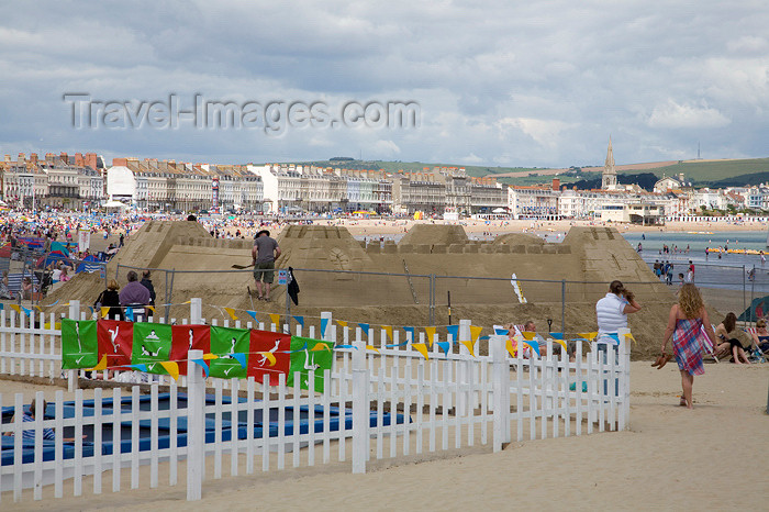 england564: Weymouth Beach, Dorset, England: giant sand castle - photo by I.Middleton - (c) Travel-Images.com - Stock Photography agency - Image Bank