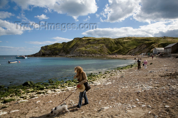 england569: Lulworth Cove, Dorset, England: walking the dog - photo by I.Middleton - (c) Travel-Images.com - Stock Photography agency - Image Bank