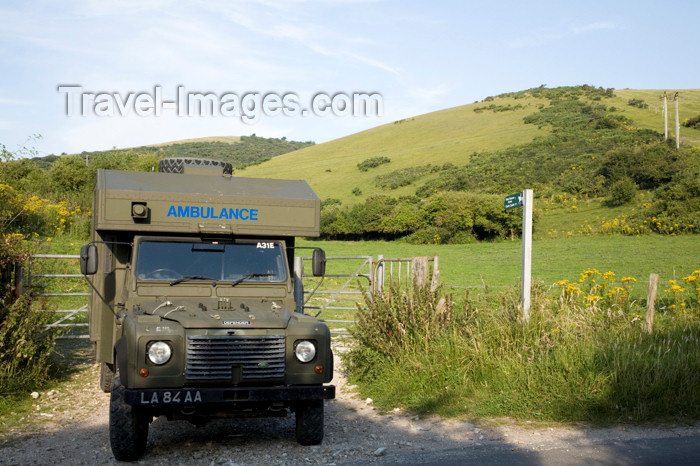 england578: Dorset, England: army ambulance parked beside road in the countryside - photo by I.Middleton - (c) Travel-Images.com - Stock Photography agency - Image Bank