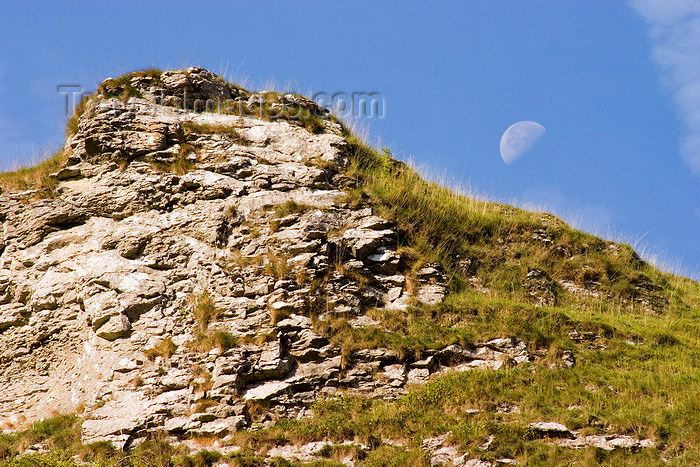 england591: Hope Valley, Peak District, Derbyshire, England: peak and Moon - near Castleton - photo by I.Middleton - (c) Travel-Images.com - Stock Photography agency - Image Bank