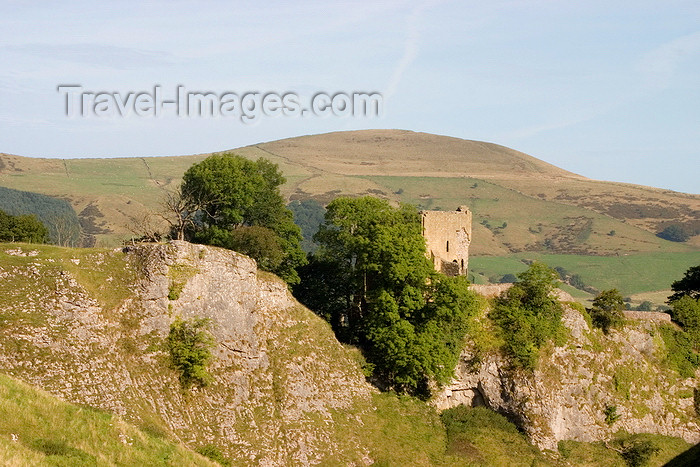 england593: Castleton, Peak District, Derbyshire, England: Peveril castle with Mam Tor in the background- photo by I.Middleton - (c) Travel-Images.com - Stock Photography agency - Image Bank