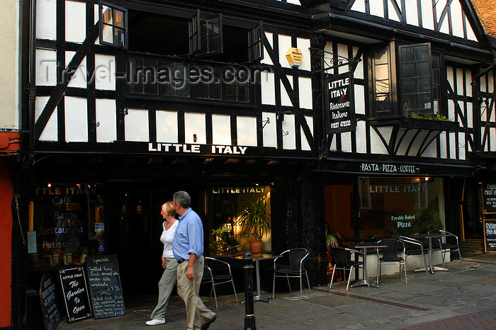 england621: Canterbury, Kent, South East England: St Peter's Street - people walking past Little Italy restaurant - photo by I.Middleton - (c) Travel-Images.com - Stock Photography agency - Image Bank