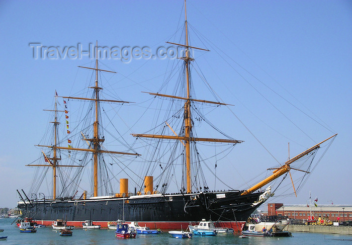 england651: Portsmouth, Hampshire, South East England, UK: HMS Warrior - the Royal Navy's first iron-hulled, armour-plated warship - Portsea Island - photo by T.Marshall - (c) Travel-Images.com - Stock Photography agency - Image Bank