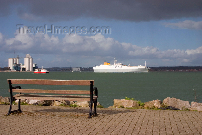 england678: Hythe, New Forest, Hampshire, South East England, UK: promenade by the Southampton Water - bench and a UECC / United European Car Carriers ferry - photo by I.Middleton - (c) Travel-Images.com - Stock Photography agency - Image Bank