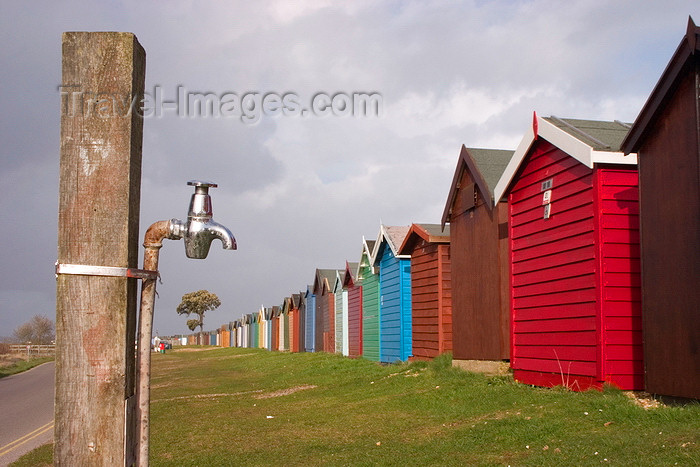 england679: Calshot, Solent, Hampshire, South East England, UK: tap and colourful beach huts - photo by I.Middleton - (c) Travel-Images.com - Stock Photography agency - Image Bank