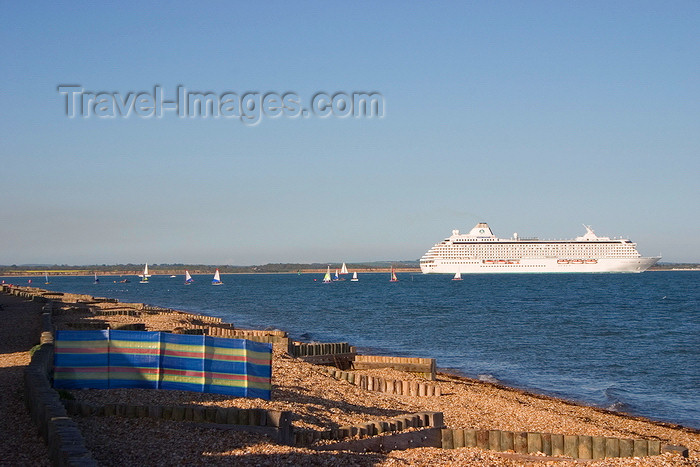 england684: Calshot, Solent, Hampshire, South East England, UK: view from Calshot Beach as a cruise liner sets sail - Crystal Serenety - photo by I.Middleton - (c) Travel-Images.com - Stock Photography agency - Image Bank