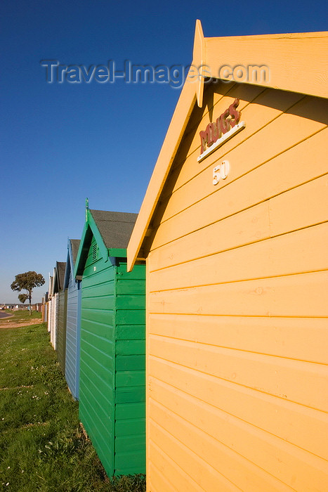 england685: Calshot, Solent, Hampshire, South East England, UK: line of colourful beach huts - photo by I.Middleton - (c) Travel-Images.com - Stock Photography agency - Image Bank