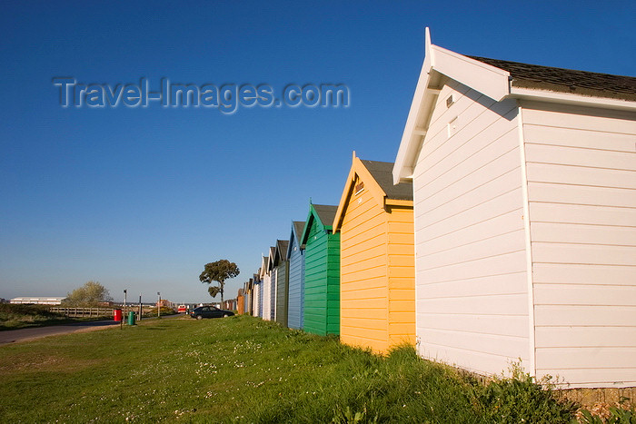 england686: Calshot, Solent, Hampshire, South East England, UK: colourful beach huts - Calshot Spit - photo by I.Middleton - (c) Travel-Images.com - Stock Photography agency - Image Bank