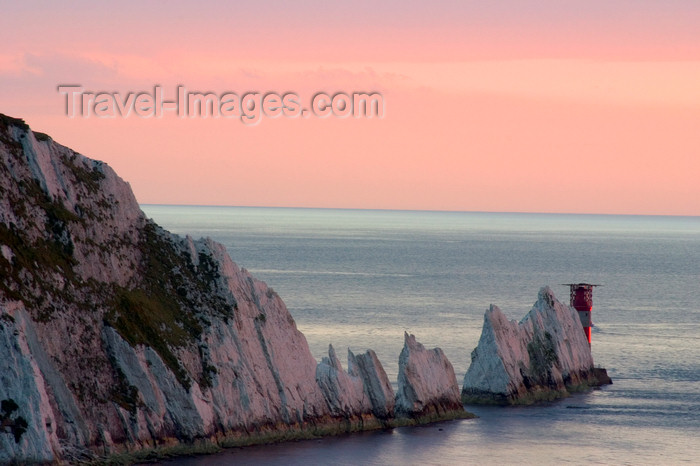 england689: Isle of Wight, South East England, UK: Alum Bay and the needles - chalky peninsula and Needles Lighthouse with its helipad - photo by I.Middleton - (c) Travel-Images.com - Stock Photography agency - Image Bank