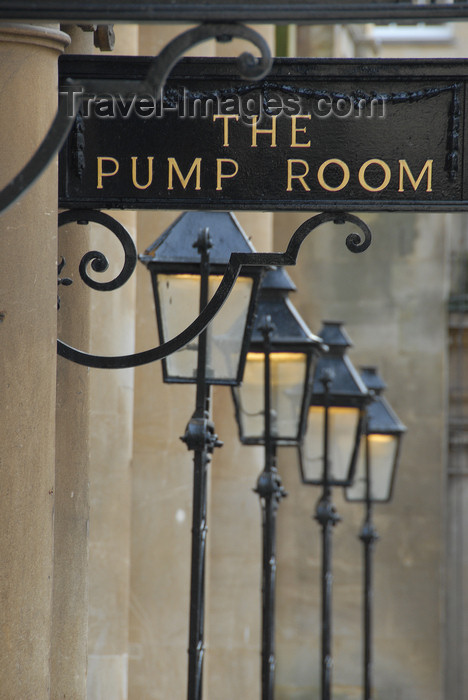 england707: Bath, Somerset, South West England, UK: street lamps - the Pump Room - photo by T.Marshall - (c) Travel-Images.com - Stock Photography agency - Image Bank