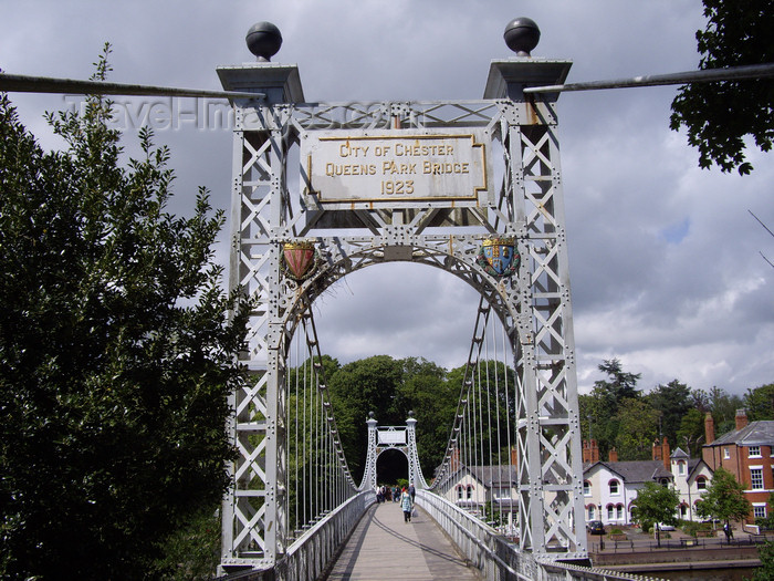england713: Chester, Cheshire, North West England, UK:  Queen's Park suspension bridge - photo by T.Brown - (c) Travel-Images.com - Stock Photography agency - Image Bank