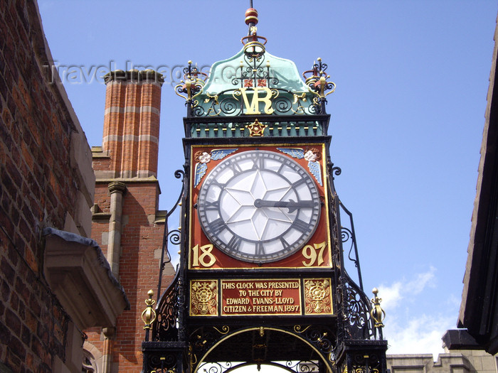 england714: Chester, Cheshire, North West England, UK: Eastgate Clock - turret clock celebrating Queen Victoria's diamond jubilee - Grade I listed building - photo by T.Brown - (c) Travel-Images.com - Stock Photography agency - Image Bank