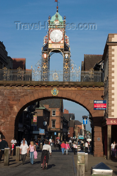 england716: Chester, Cheshire, North West England, UK: Eastgate with its clock - part of the city walls - photo by I.Middleton - (c) Travel-Images.com - Stock Photography agency - Image Bank