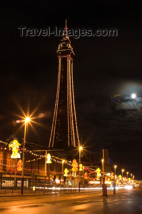 england736: Blackpool - Lancashire, North West England, UK:  illuminations and tower at night - photo by I.Middleton - (c) Travel-Images.com - Stock Photography agency - Image Bank