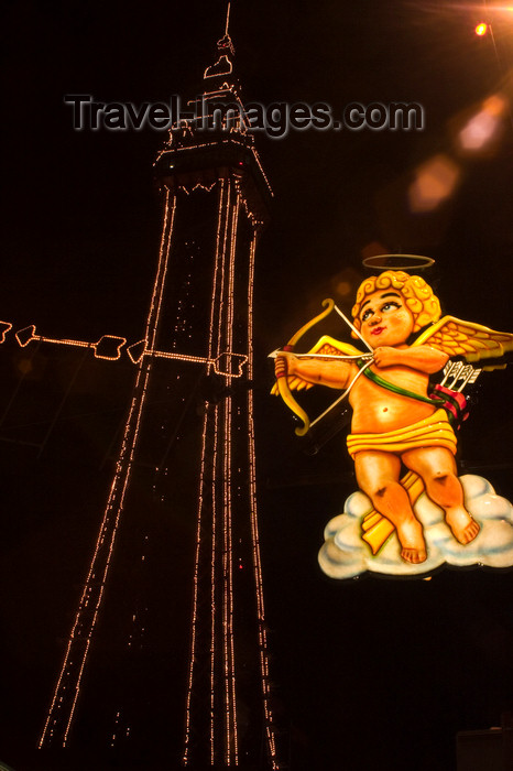 england737: Blackpool - Lancashire, North West England, UK: Cupid fires his arrow - illuminations and tower at night - photo by I.Middleton - (c) Travel-Images.com - Stock Photography agency - Image Bank