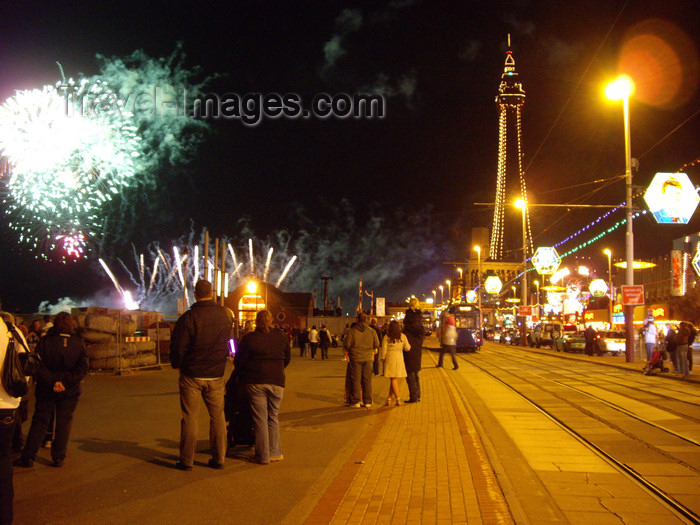 england739: Blackpool - Lancashire, North West England, UK: fireworks, promenade and tower at night - iluminations - photo by T.Brown - (c) Travel-Images.com - Stock Photography agency - Image Bank
