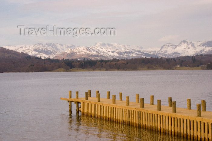 england740: Lake District, North West England, UK: view across Lake Windermere - pier and snow covered mountains - photo by I.Middleton - (c) Travel-Images.com - Stock Photography agency - Image Bank