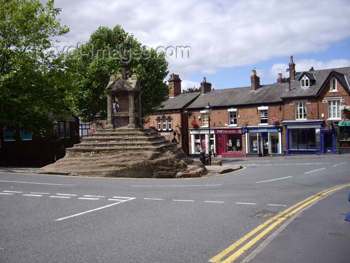england743: Lymm village, Warrington, Cheshire, North West England, UK: Lymm Cross -  built over an outcrop of red sandstone - Grade I listed building - photo by T.Brown - (c) Travel-Images.com - Stock Photography agency - Image Bank