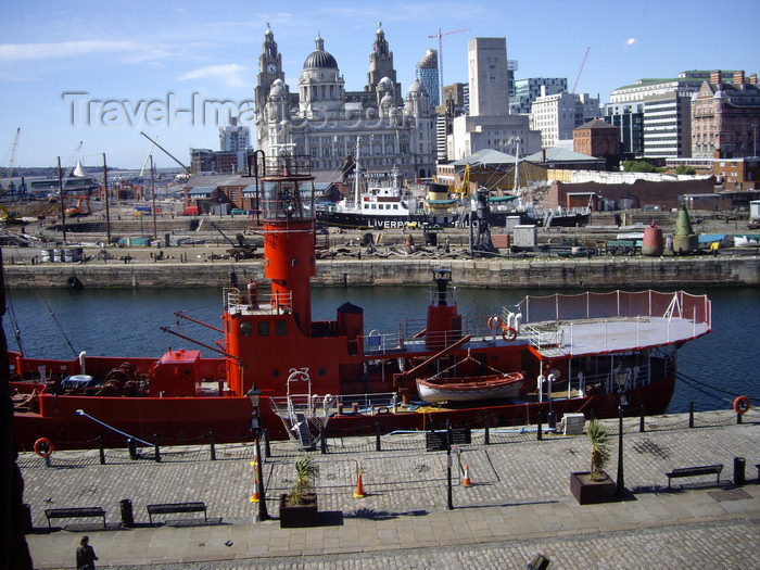 england756: Liverpool, Merseyside, North West England, UK: Lightship 23, Albert Dock - Pier Head and the Three Graces in the background - photo by T.Brown - (c) Travel-Images.com - Stock Photography agency - Image Bank