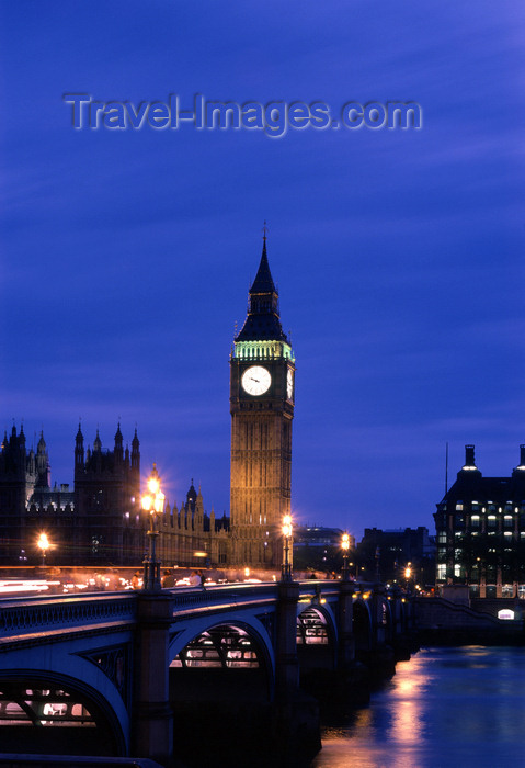 england771: London, England:  Big Ben and the arches of Westminster Bridge - photo by A.Bartel - (c) Travel-Images.com - Stock Photography agency - Image Bank
