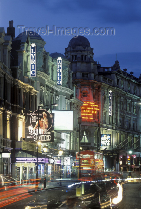 england779: London, England:  theatres and lights, Shaftsbury Ave. - the City - photo by A.Bartel - (c) Travel-Images.com - Stock Photography agency - Image Bank