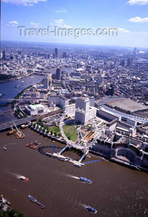 england785: London, England: The Eye, Waterloo station and Hungerford Bridge - Lambeth and the Thames - Aerial - photo by A.Bartel - (c) Travel-Images.com - Stock Photography agency - Image Bank
