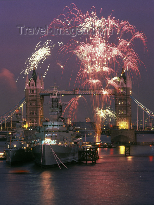england789: London, England: fireworks on the Thames - Tower Bridge and HMS Belfast - photo by A.Bartel - (c) Travel-Images.com - Stock Photography agency - Image Bank