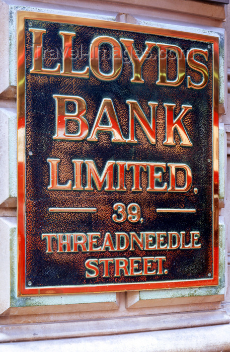 england794: London, England: Brass Bank Sign - Lloyds - Threadneedle Street - The City - photo by A.Bartel - (c) Travel-Images.com - Stock Photography agency - Image Bank
