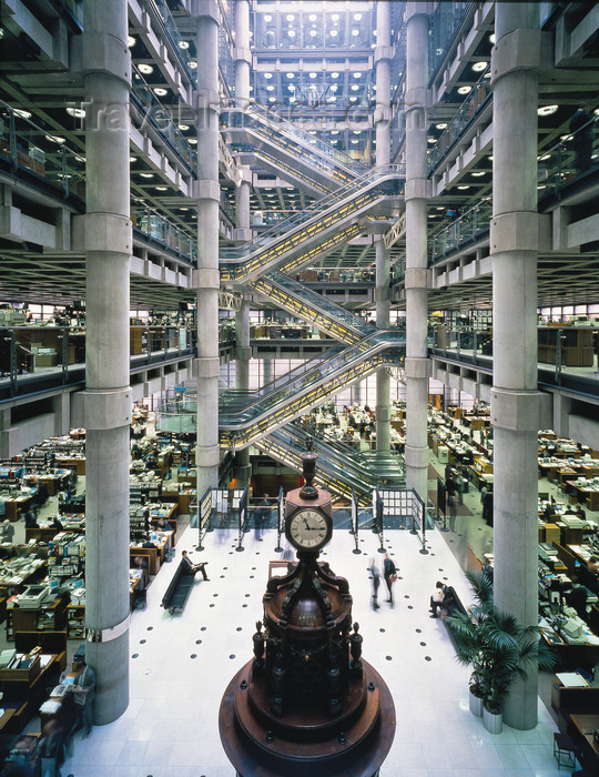 england795: London, England: Llloyds Underwriting Room with the Lutine Bell - Lloyds building - inside the 'Inside-Out Building' - escalators - architect Richard Rogers - photo by A.Bartel - (c) Travel-Images.com - Stock Photography agency - Image Bank