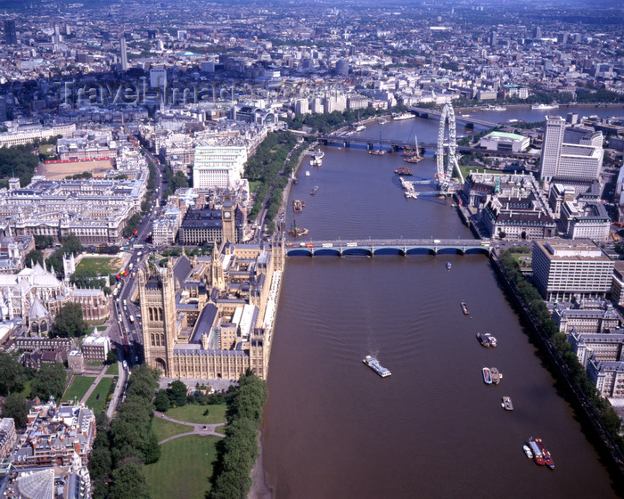 england798: London, England: Houses of Parliament and the Thames - Aerial - photo by A.Bartel - (c) Travel-Images.com - Stock Photography agency - Image Bank