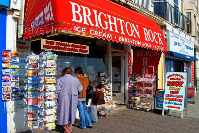 england803: Brighton, East Sussex, England, United Kingdom: exterior of a shop selling 'Brighton rock', a  sugar confectionery - photo by B.Henry - (c) Travel-Images.com - Stock Photography agency - Image Bank