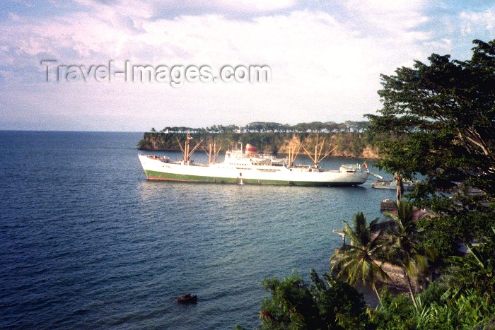 equatorial-guinea3: Bioko island / isla de Fernando Pó, Equatorial Guinea: Malabo - cargo ship on the bay - photo by B.Cloutier - (c) Travel-Images.com - Stock Photography agency - Image Bank