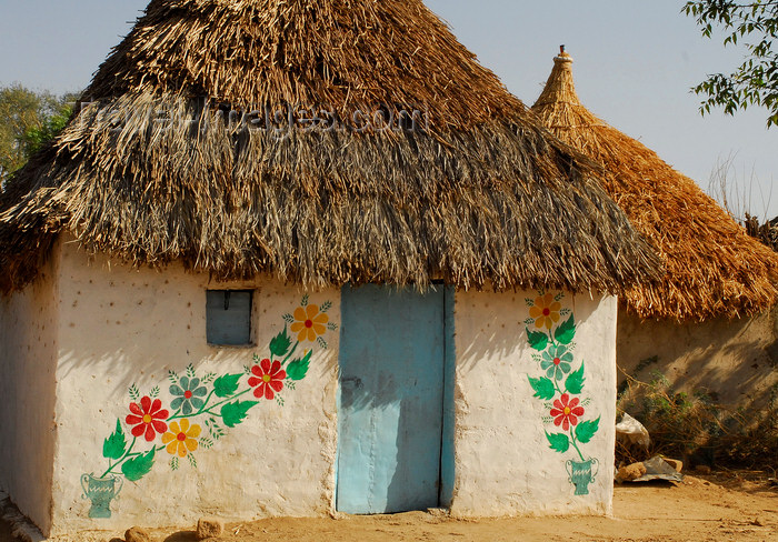 eritrea59: Eritrea - Hagaz, Anseba region - house decorated with floral motives - thatched roof - photo by E.Petitalot - (c) Travel-Images.com - Stock Photography agency - Image Bank