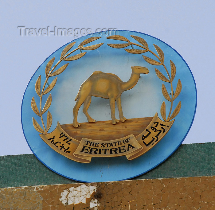 eritrea7: Eritrea - Asmara: camel - Eritrean coat of arms on a public building - photo by E.Petitalot - (c) Travel-Images.com - Stock Photography agency - Image Bank