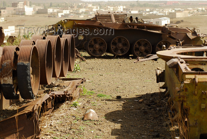 eritrea87: Eritrea - Mendefera, Southern region: tank wrecks in a battle field - photo by E.Petitalot - (c) Travel-Images.com - Stock Photography agency - Image Bank