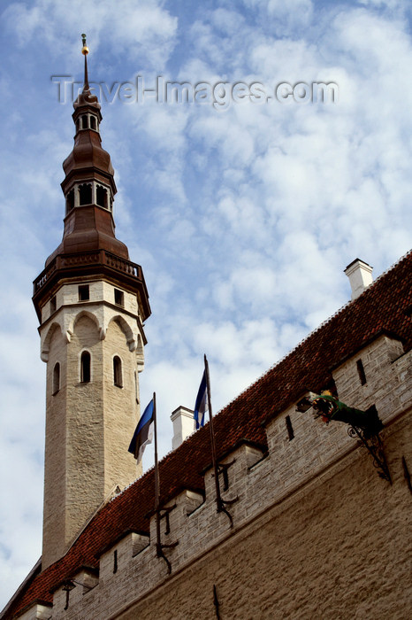estonia166: Estonia - Tallinn - Old Town - Old Town Hall Tower and sky - photo by K.Hagen - (c) Travel-Images.com - Stock Photography agency - Image Bank