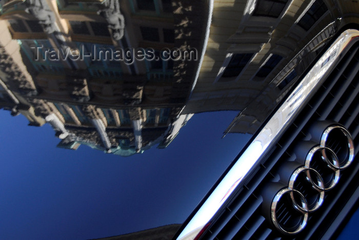 estonia189: Estonia, Tallinn: Old town buildings reflected in an Audi bonnet - photo by J.Pemberton - (c) Travel-Images.com - Stock Photography agency - Image Bank