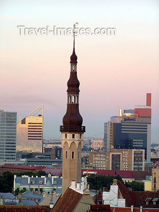 estonia37: Estonia / Eesti - Tallinn: old an new Estonian architecture - city hall and other towers - Radisson SAS hotel - photo by J.Kaman - (c) Travel-Images.com - Stock Photography agency - Image Bank
