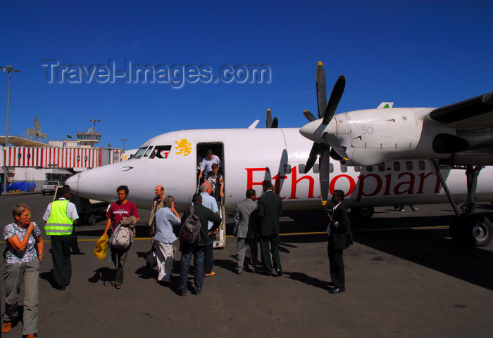 ethiopia1: Addis Ababa, Ethiopia: Bole International Airport (IATA: ADD, ICAO: HAAB) - Ethiopian Airlines - Fokker 50 - passengers disembark - photo by M.Torres - (c) Travel-Images.com - Stock Photography agency - Image Bank