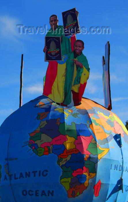 ethiopia103: Addis Ababa, Ethiopia: Ethiopian athletes over the globe - Meskal square - photo by M.Torres - (c) Travel-Images.com - Stock Photography agency - Image Bank