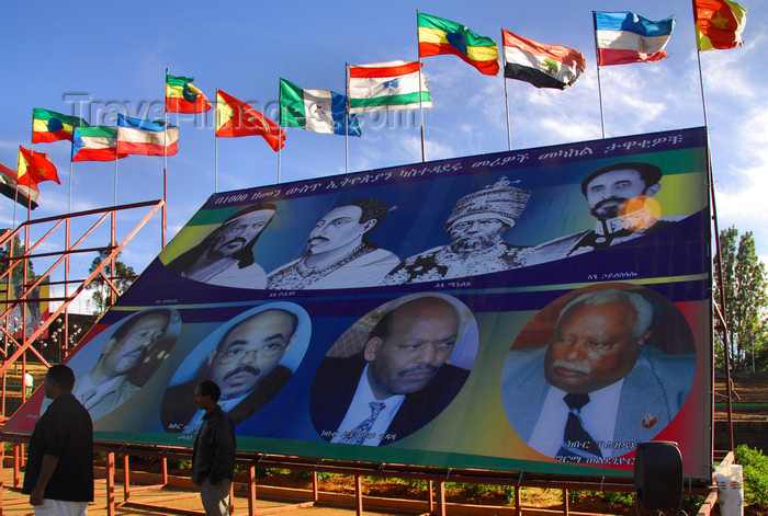 ethiopia106: Addis Ababa, Ethiopia: propaganda - modern politicians seek legitimacy in historical figures - Meskal square - photo by M.Torres - (c) Travel-Images.com - Stock Photography agency - Image Bank