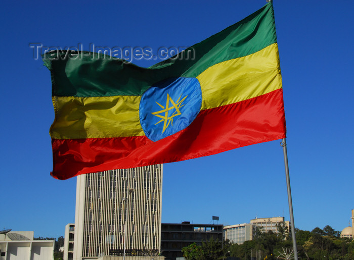 ethiopia109: Addis Ababa, Ethiopia: Ethiopian flag and Bank of Abyssinia - Meskal square - photo by M.Torres - (c) Travel-Images.com - Stock Photography agency - Image Bank