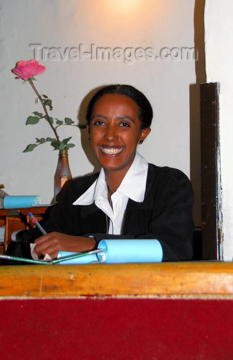 ethiopia124: Addis Ababa, Ethiopia: welcome smile at the empress Itegue Taitu Hotel - oldest Hotel in Ethiopia - Piazza area - photo by M.Torres - (c) Travel-Images.com - Stock Photography agency - Image Bank