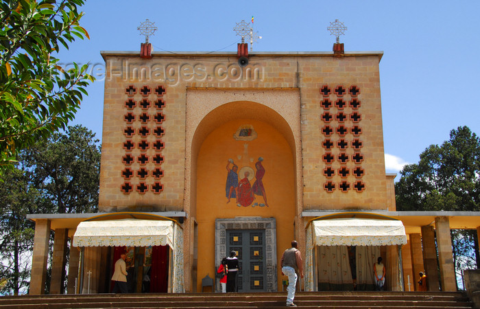 ethiopia141: Addis Ababa, Ethiopia: St. Stephanos church ( Kuddus Estephanos Church - main entrance, facing Menelik II avenue - photo by M.Torres - (c) Travel-Images.com - Stock Photography agency - Image Bank