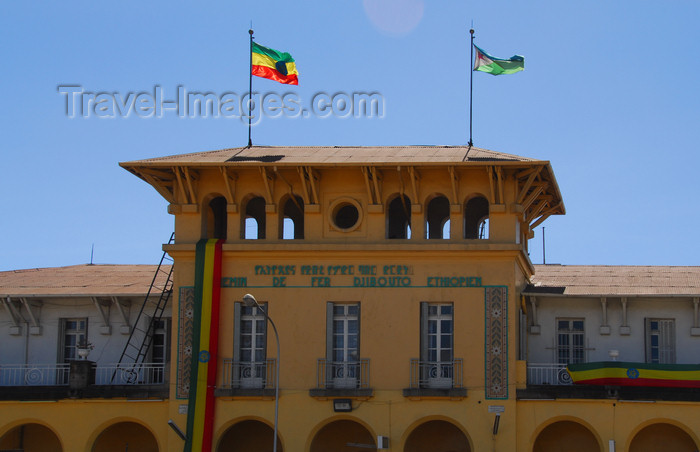 ethiopia150: Addis Ababa, Ethiopia: main train station - La Gare - Ethiopian and Djiboutian flags - photo by M.Torres - (c) Travel-Images.com - Stock Photography agency - Image Bank