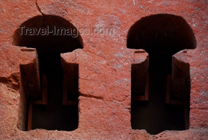 ethiopia157: Lalibela, Amhara region, Ethiopia: Bet Medhane Alem rock-hewn church - twin windows - photo by M.Torres - (c) Travel-Images.com - Stock Photography agency - Image Bank