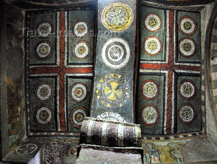 ethiopia166: Lalibela, Amhara region, Ethiopia: Bet Maryam rock-hewn church - ceiling decorated with crosses and circles - UNESCO world heritage site - photo by M.Torres - (c) Travel-Images.com - Stock Photography agency - Image Bank