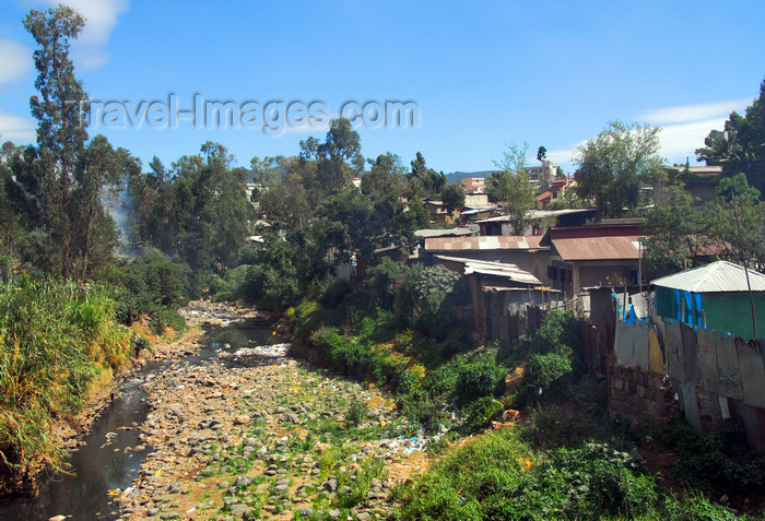 ethiopia17: Addis Ababa, Ethiopia:  Bantyiketo river - shanty town near Jomo Kenyatta avenue - photo by M.Torres - (c) Travel-Images.com - Stock Photography agency - Image Bank