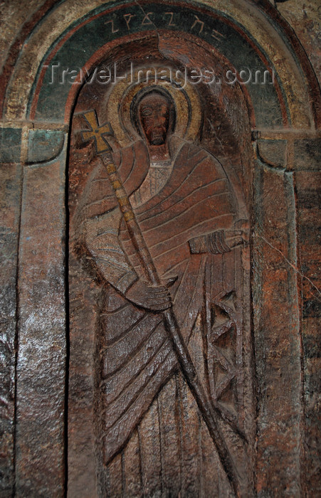 ethiopia176: Lalibela, Amhara region, Ethiopia: Bet Golgotha church - carving of a saint - photo by M.Torres - (c) Travel-Images.com - Stock Photography agency - Image Bank